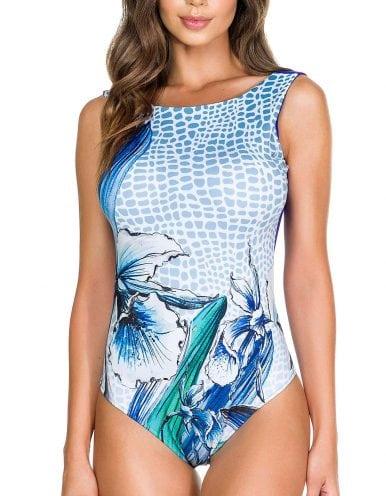 Body Bañador Estampado Flores Azul y Blanco
