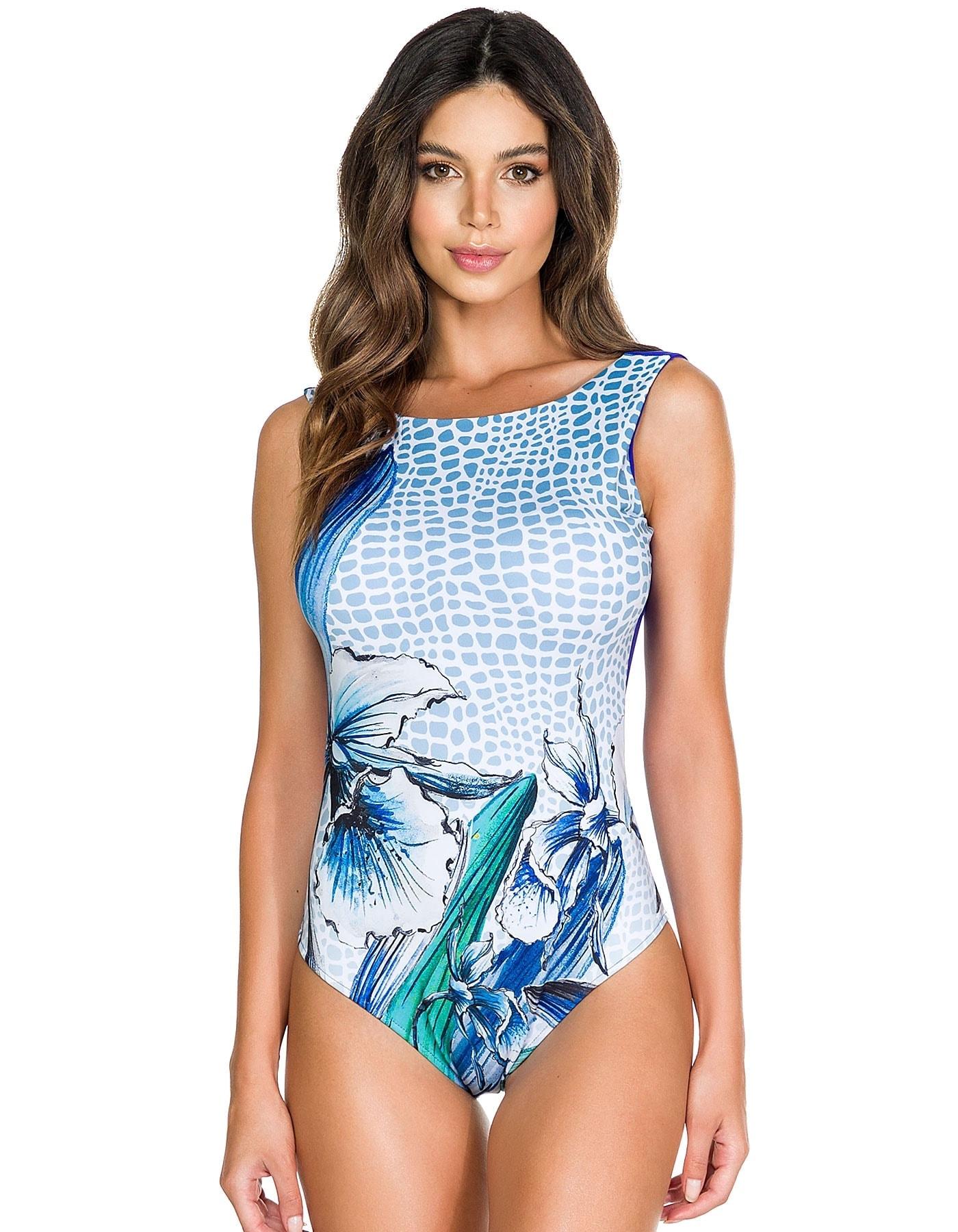Body Bañador Estampado Flores Azul y Blanco A