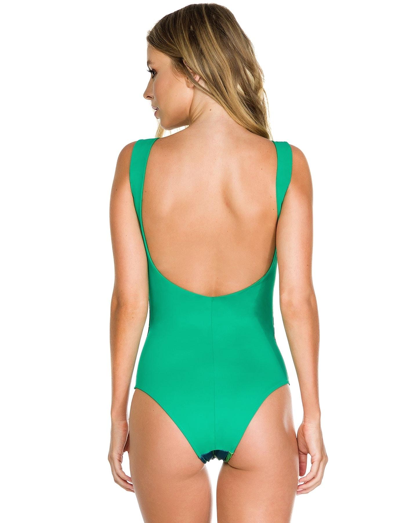 Body Bañador Flores con Cuello Redondo y Espalda al Aire en Verde A