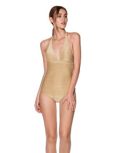 Bañador Dorado con escote en V, espalda al aire y anudado en cuello y espalda | Cartagena