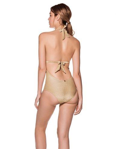 Bañador Dorado con escote en V, espalda al aire y anudado en cuello y espalda | Cartagena B