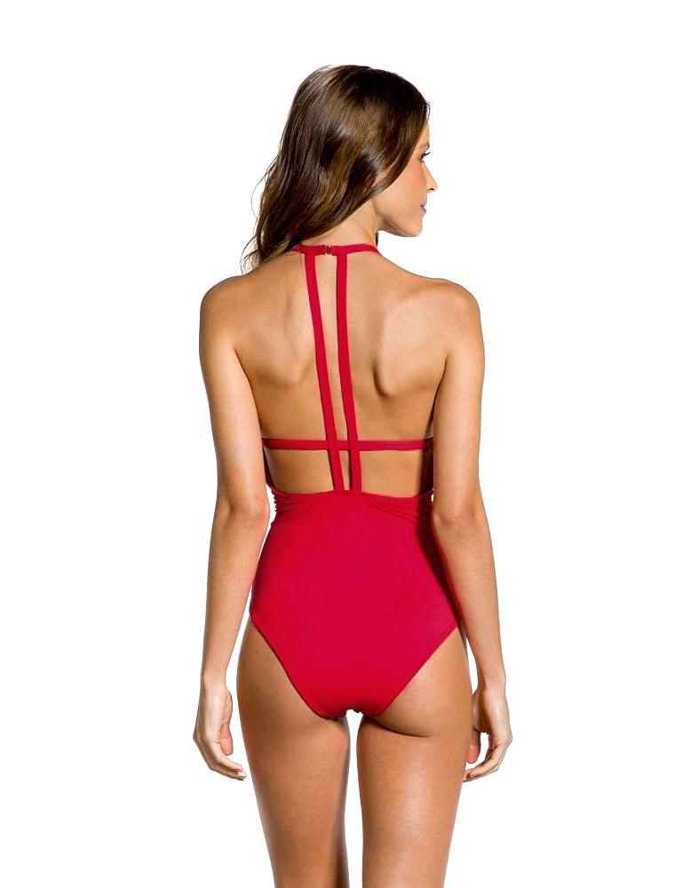 Bañador estampado geométrico rubí, cuello halter y espalda al aire | Rubí B