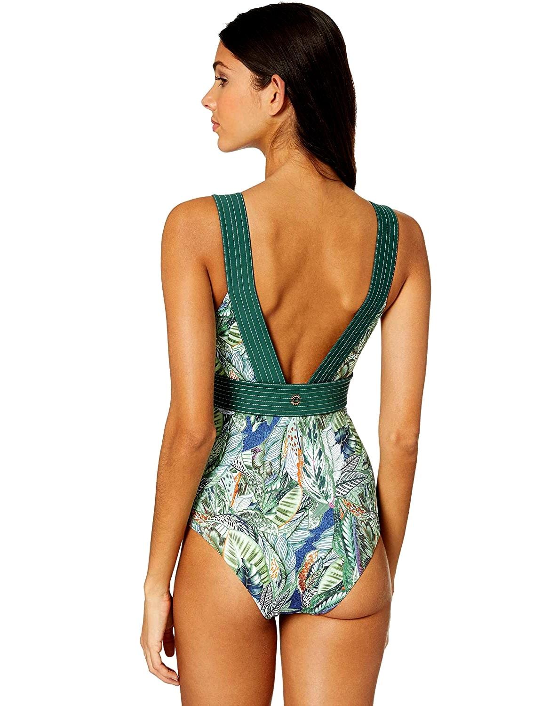 Body Bañador estampado Amazónico con escote en V, espalda al aire y anudado en cintura | Leticia C