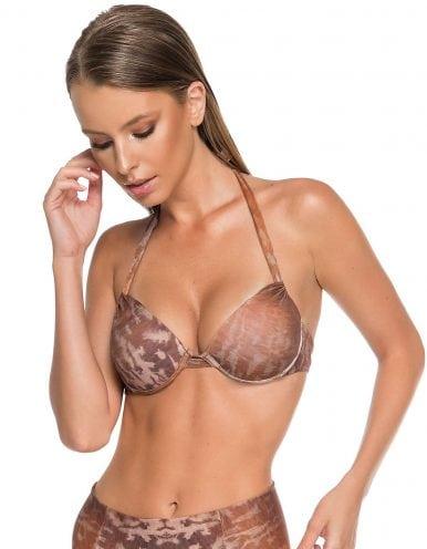 Top Bikini estampado marrón, escote balconette y anudados en cuello y espalda