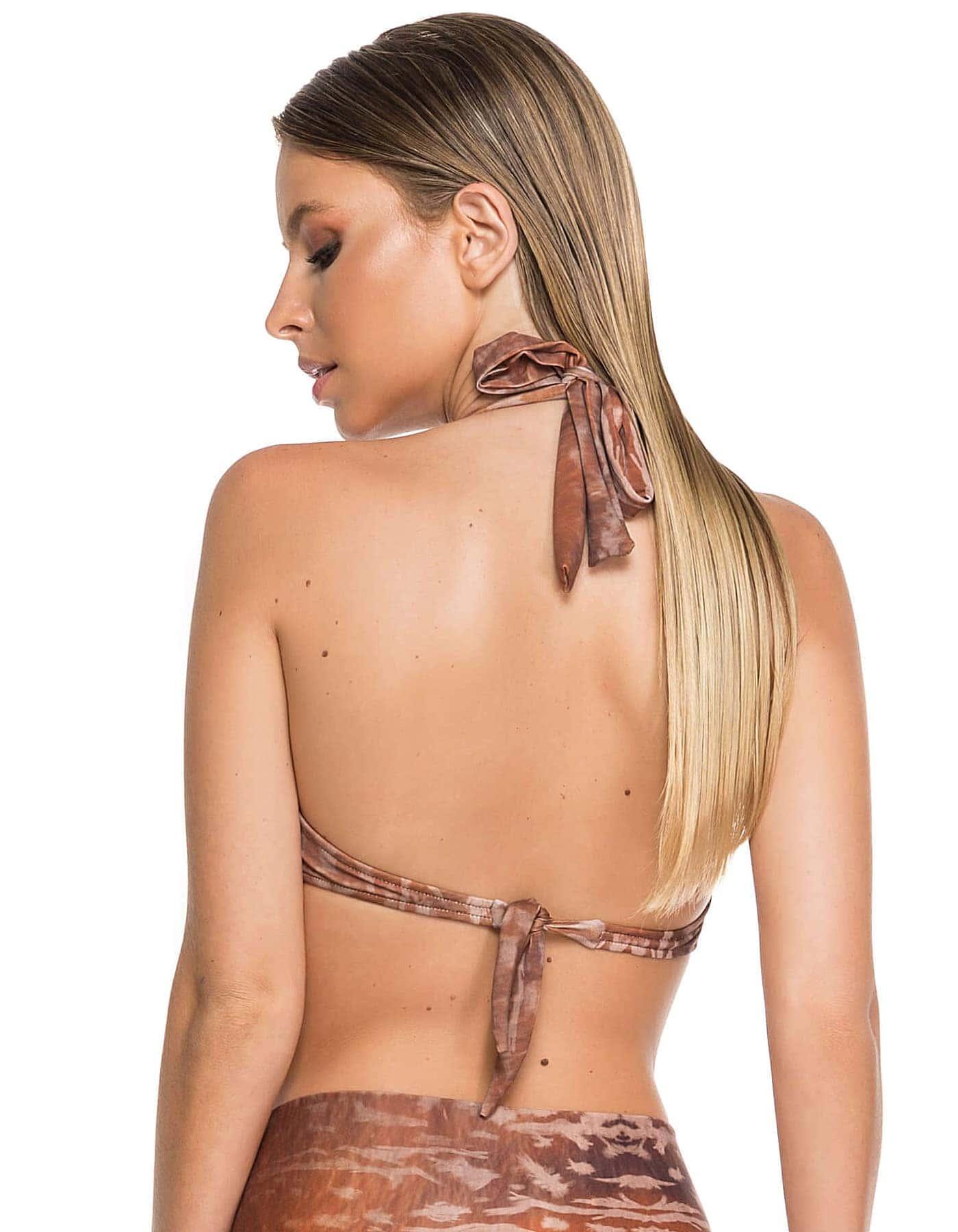 Top Bikini estampado marrón, escote balconette y anudados en cuello y espalda B