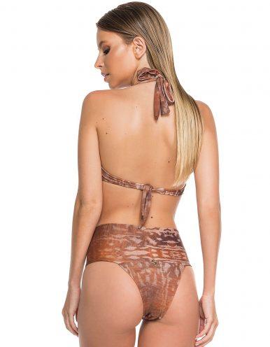 Bikini marrón, escote balconette + Braguita Bikini marrón con drapeado alto | Camel B