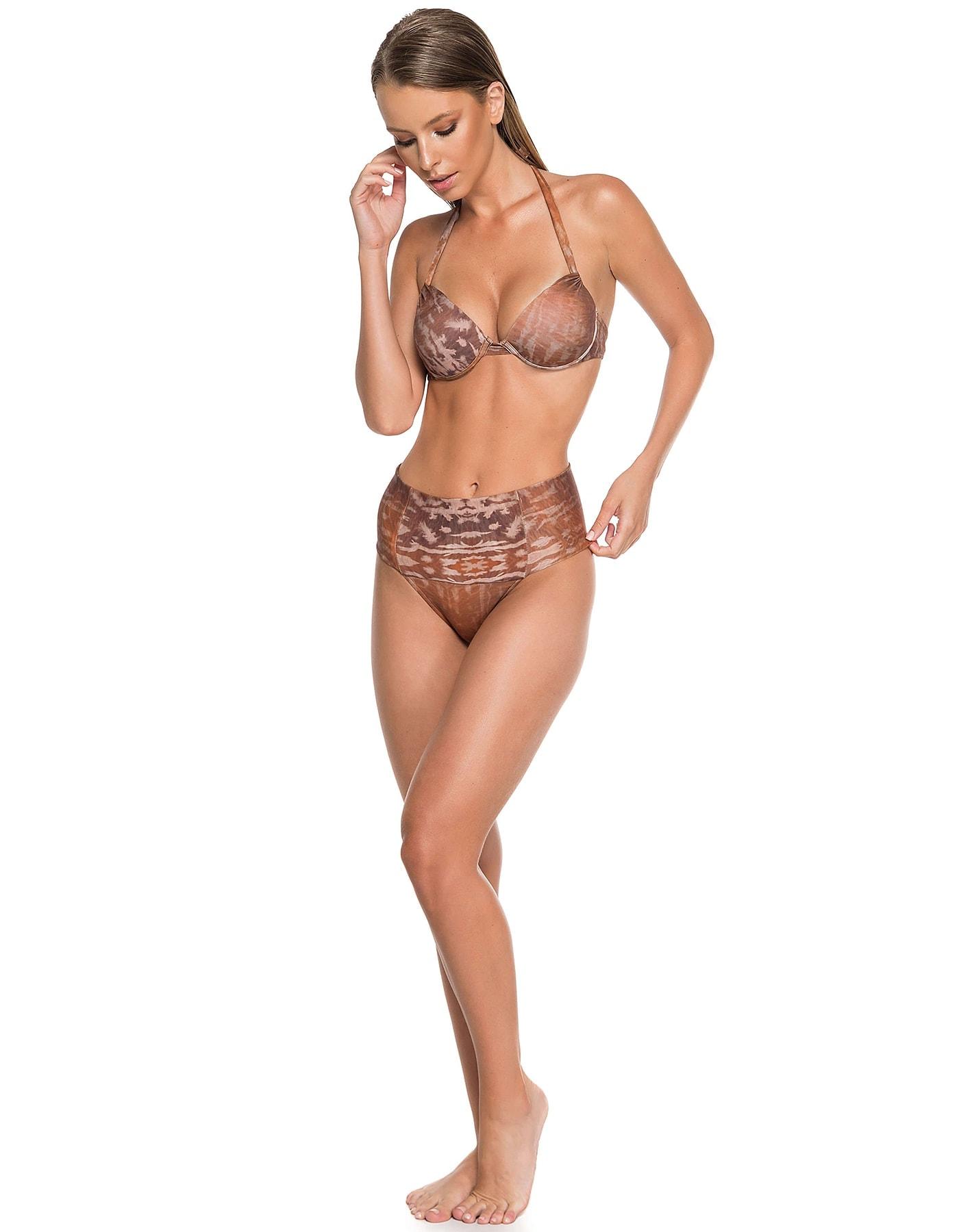 Bikini marrón, escote balconette + Braguita Bikini marrón con drapeado alto | Camel E