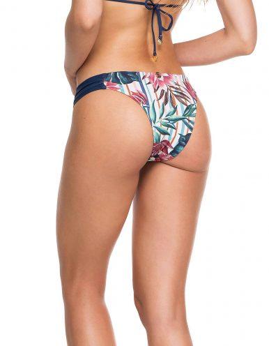 Braguita Bikini o Tanga reversible floral con drapeado en lateral de cintura Anne B