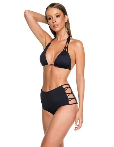 Bikini negro con detalles dorados en Oro + Braguita Bikini negro hot pants con detalles dorados en Oro Miçangas C