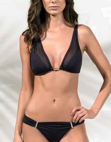 Bikini negro triángulo, tul y detalles dorados en Oro + Braguita Bikini negro con detalles dorados en Oro | Tube