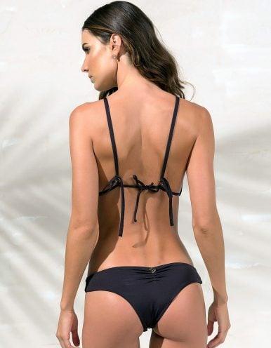 Bikini negro triángulo, tul y detalles dorados en Oro + Braguita Bikini negro con detalles dorados en Oro | Tube B