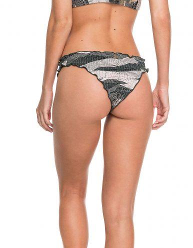 Braguita Bikini verde y beige o Tanga reversible ripple | Jane B