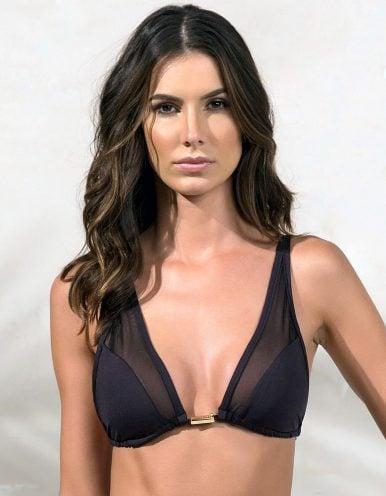 Top Bikini negro triangular, tul y detalles dorados en Oro | Tube