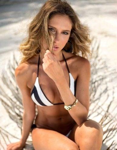 Top Bikini negro y blanco triángulo con Oro | Duo