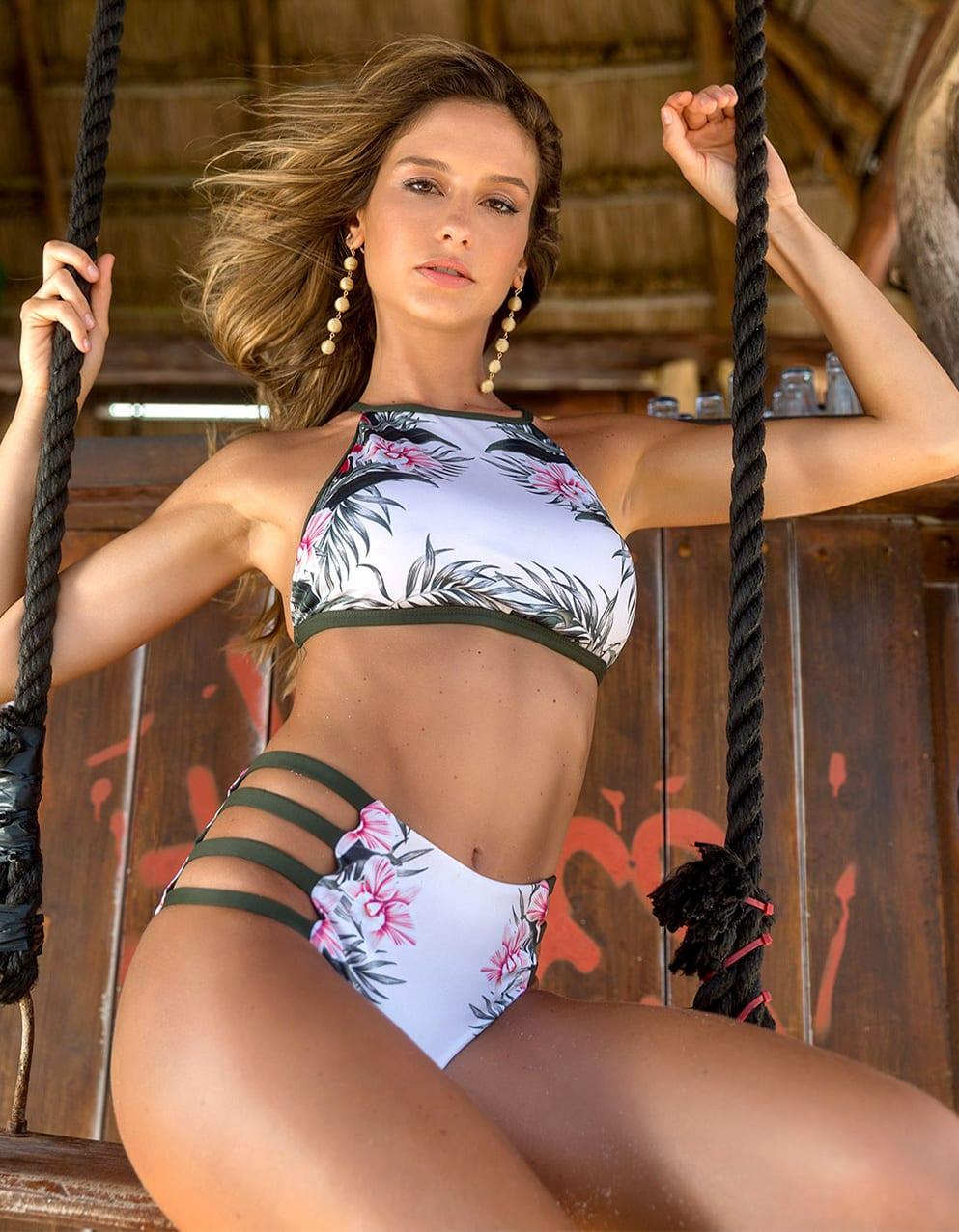 Bikini Crop Top flores halter con Braguita Hot Pants reversible | 245