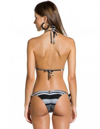 Bikini negro y blanco triángulo Braguita Bikini tanga negro y blanco ripple con Oro Jacquard B