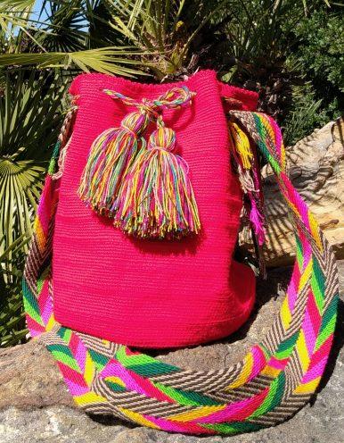 Bolso Wayuu Artesanal, Auténtico y Original (sólo 1 igual) liso en rosa, amarillo, verde, verde oscuro, blanco y negro A