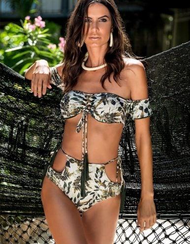 Braguita Bikini talle alto, estampado y Oro | Conjunto Namibia 2