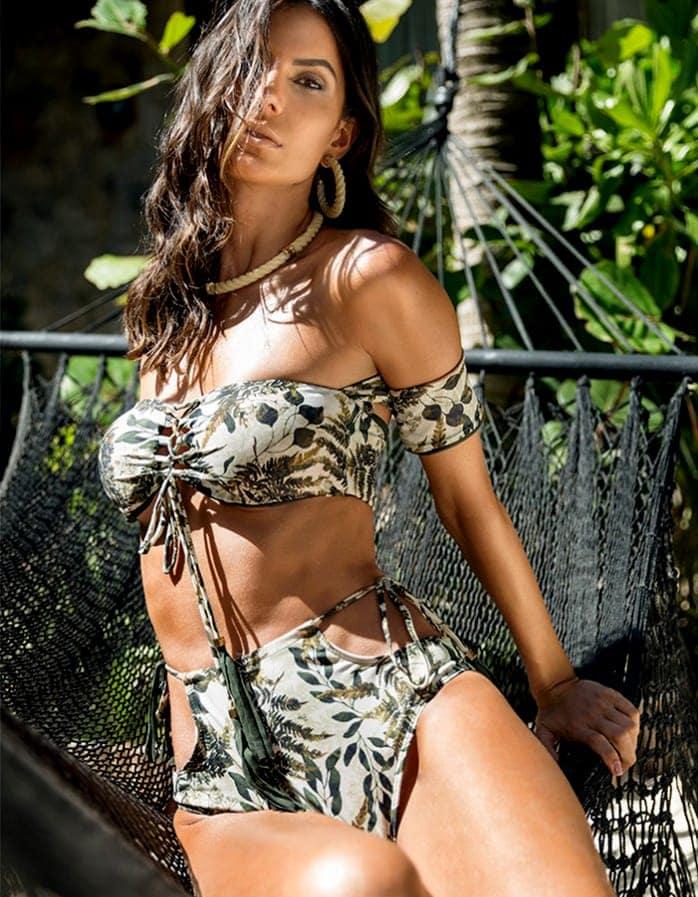 Braguita Bikini talle alto, estampado y Oro   Conjunto Namibia 2 B