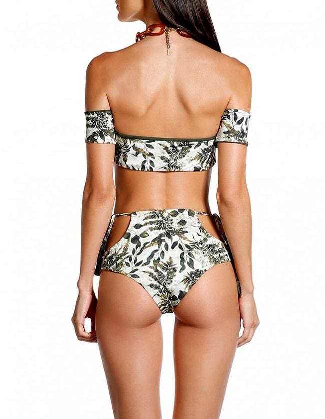Braguita Bikini talle alto, estampado y Oro   Conjunto Namibia 2 D