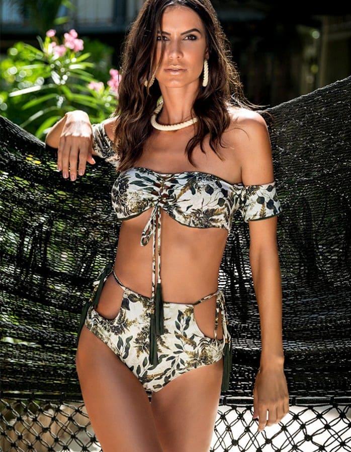 Braguita Bikini talle alto, estampado y Oro   Conjunto Namibia 2