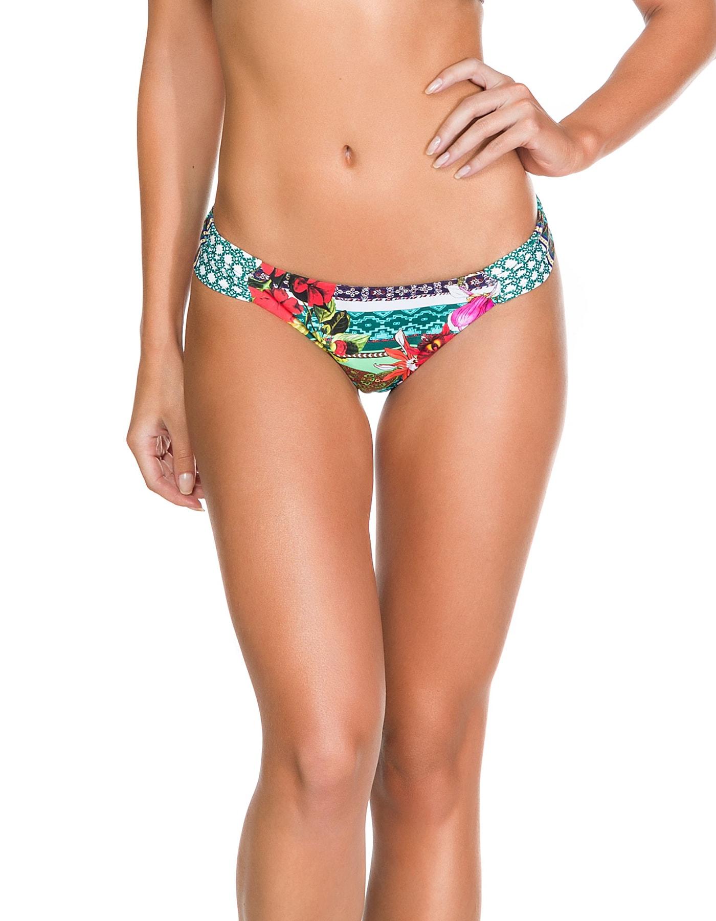 Braguita Bikini tanga estampado flores, reversible y drapeado | 700
