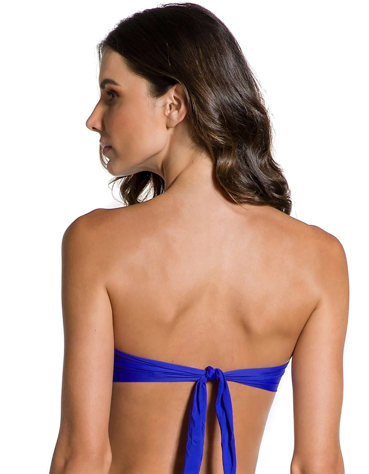 Top Bikini escote bandeau con broche dorado en Oro | 124 B