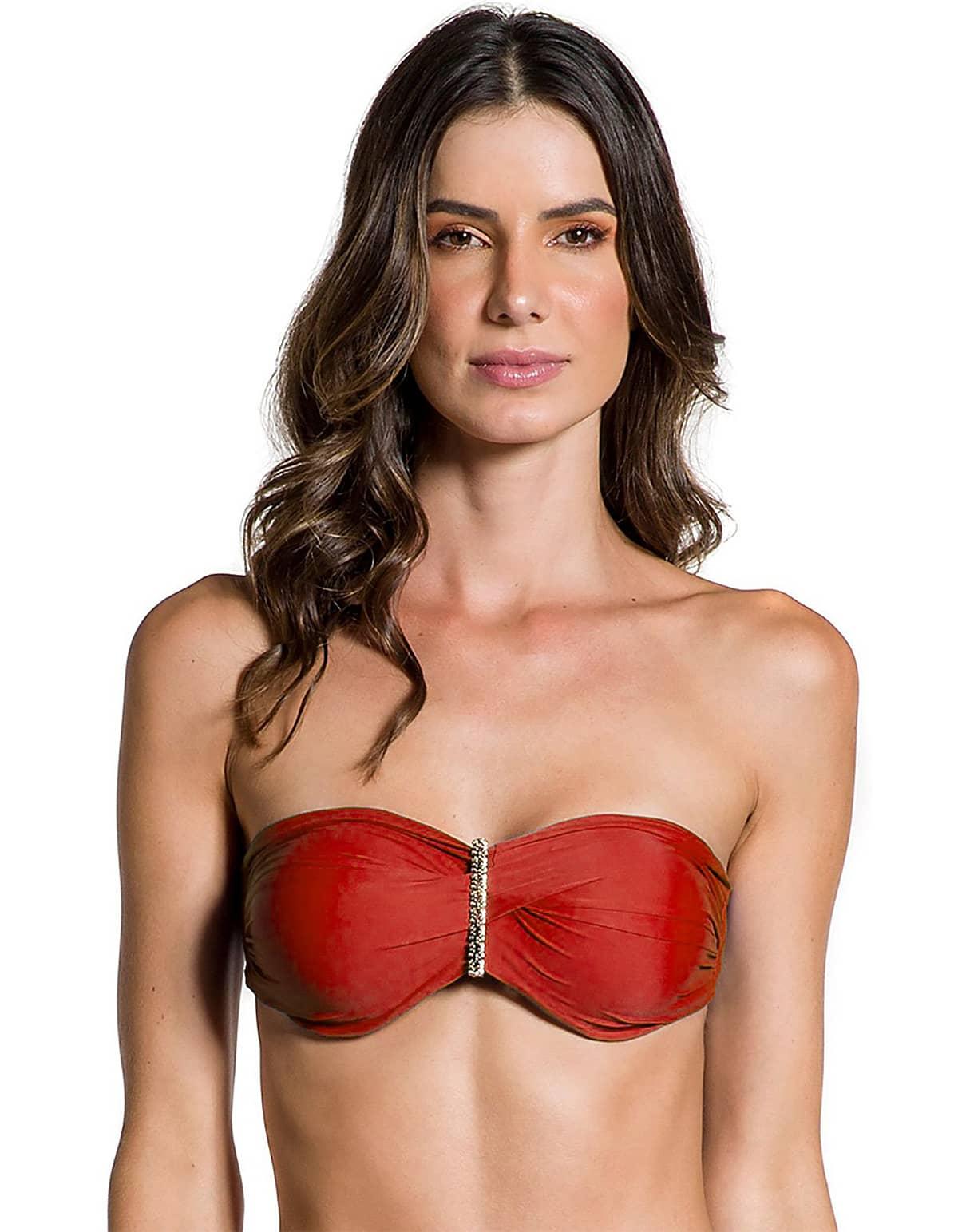 Top Bikini escote bandeau con broche dorado en Oro | 124 Rojo