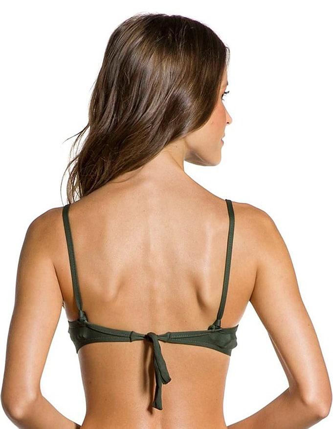 Top Bikini negro anudado espalda con tirantes removibles | 148 verde oscuro B