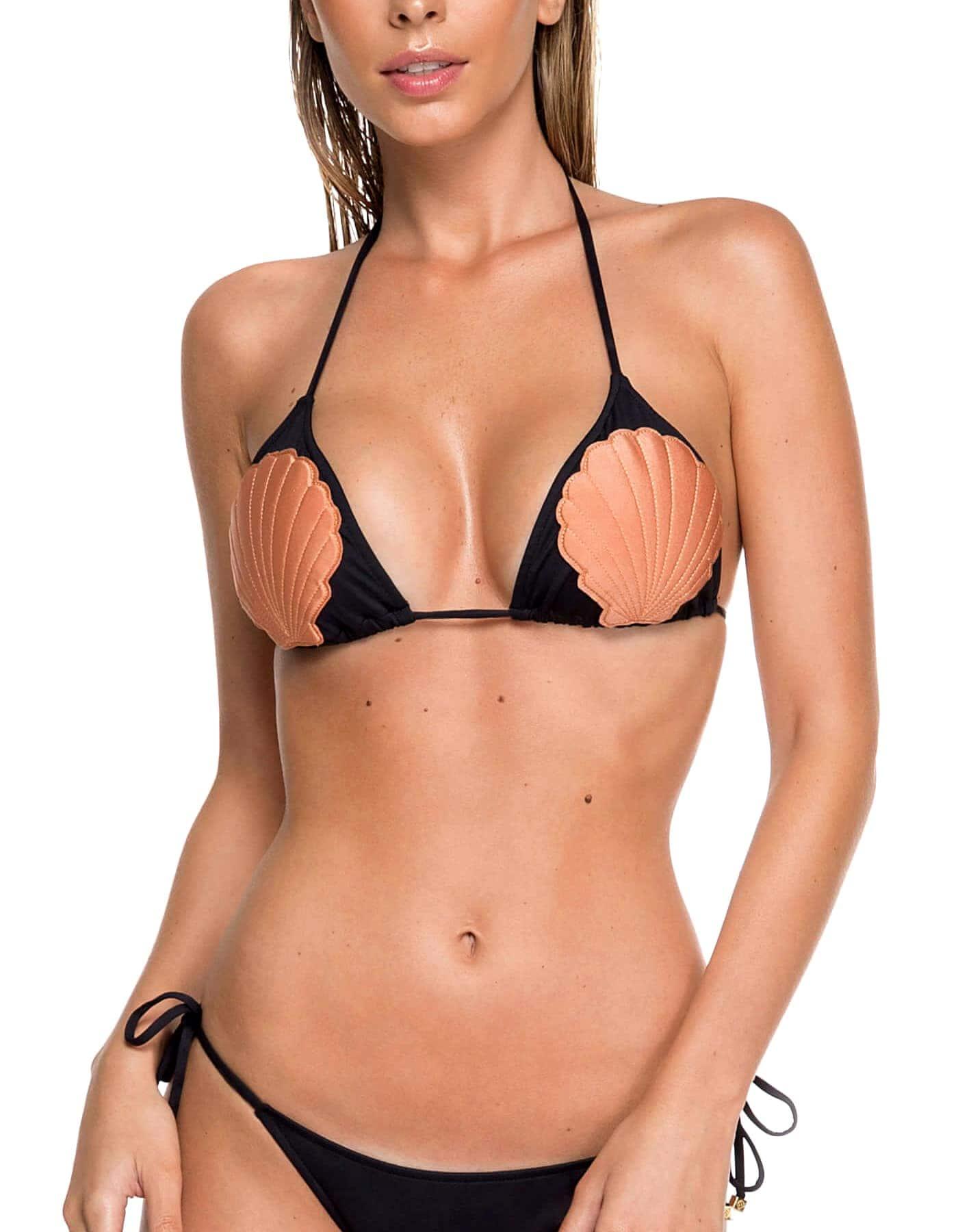 Top Bikini negro, apliques con forma de concha hechos a mano y Oro | Shell C