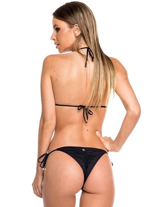 Top Bikini negro, apliques con forma de concha hechos a mano y Oro   Shell D