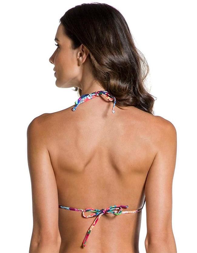 Top Bikini triángulo estampado flores con Oro   123 B