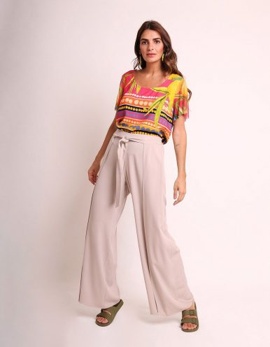 Blusa amarilla o rosa verano estampada y manga corta de tul Malagueta-72420MAL-A