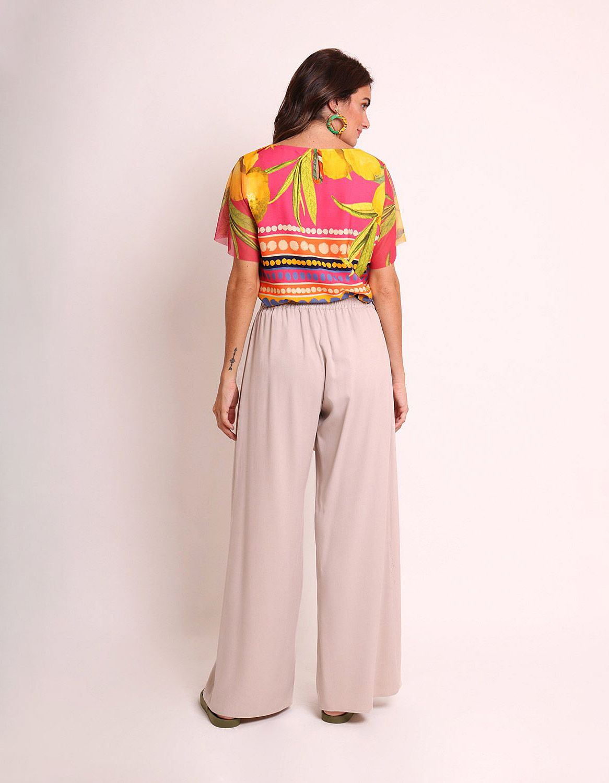 Blusa amarilla o rosa verano estampada y manga corta de tul Malagueta-72420MAL-B