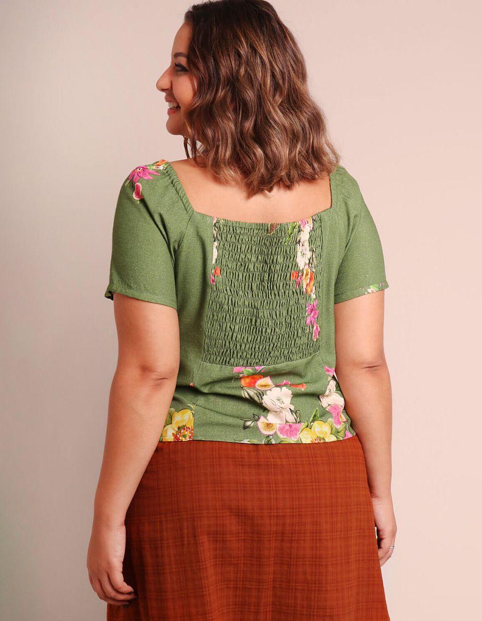 Blusa blanca o verde talla grande verano y manga corta Malagueta-57470MAL-B