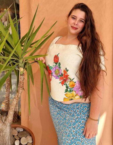 Blusa blanca o verde talla grande verano y manga corta Malagueta-57470MAL-C