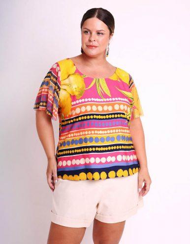 Blusa talla grande amarilla o rosa de verano estampada con manga corta de tul Malagueta-57644MAL-A