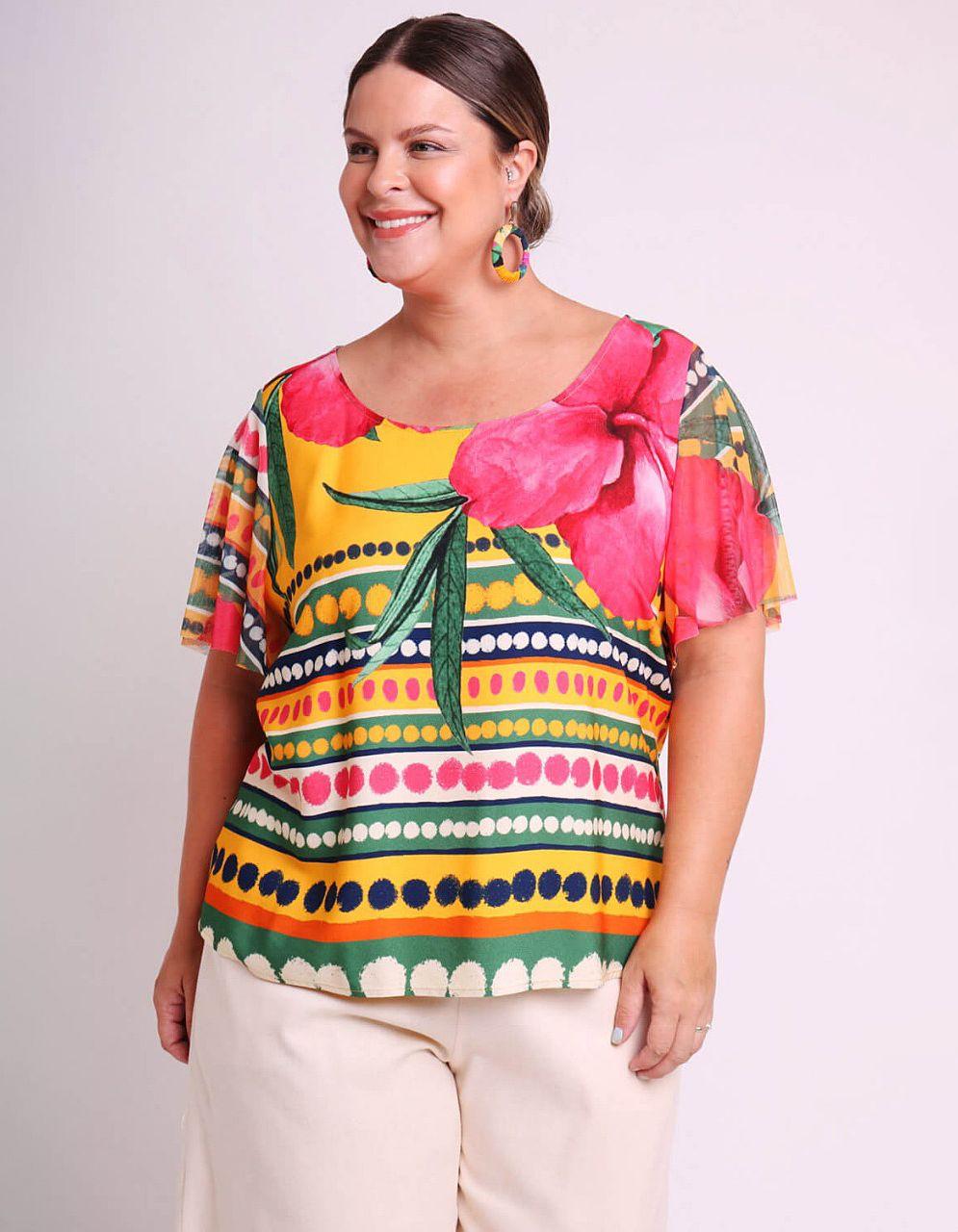 Blusa talla grande amarilla o rosa de verano estampada con manga corta de tul Malagueta-57644MAL-B