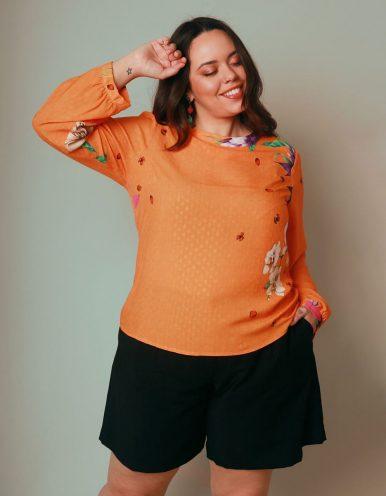 Blusa talla grande verano naranja manga larga y estampa floral Malagueta-57426MAL-A