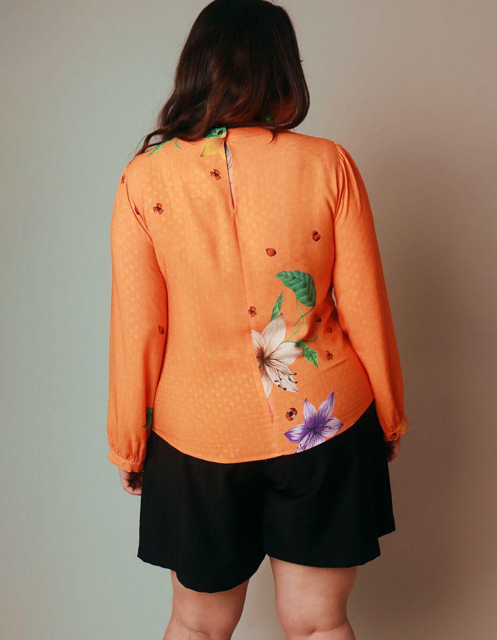 Blusa talla grande verano naranja manga larga y estampa floral Malagueta-57426MAL-B