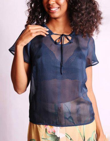 Blusa transparente de verano azul o rosa y manga corta Malagueta-72376MAL-A