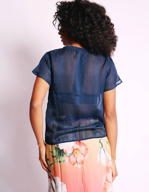 Blusa transparente de verano azul o rosa y manga corta Malagueta-72376MAL-C