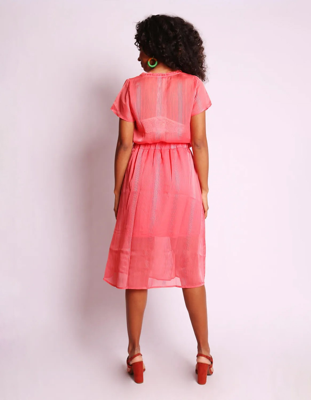 Blusa transparente de verano azul o rosa y manga corta Malagueta-72376MAL-F