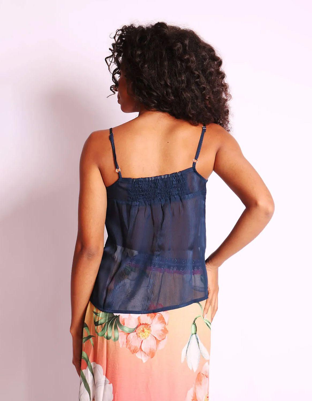 Blusa transparente plisada de verano azul o rosa sin mangas y con botones Malagueta-72377MAL-B