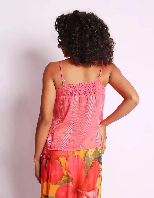 Blusa transparente plisada de verano azul o rosa sin mangas y con botones Malagueta-72377MAL-F