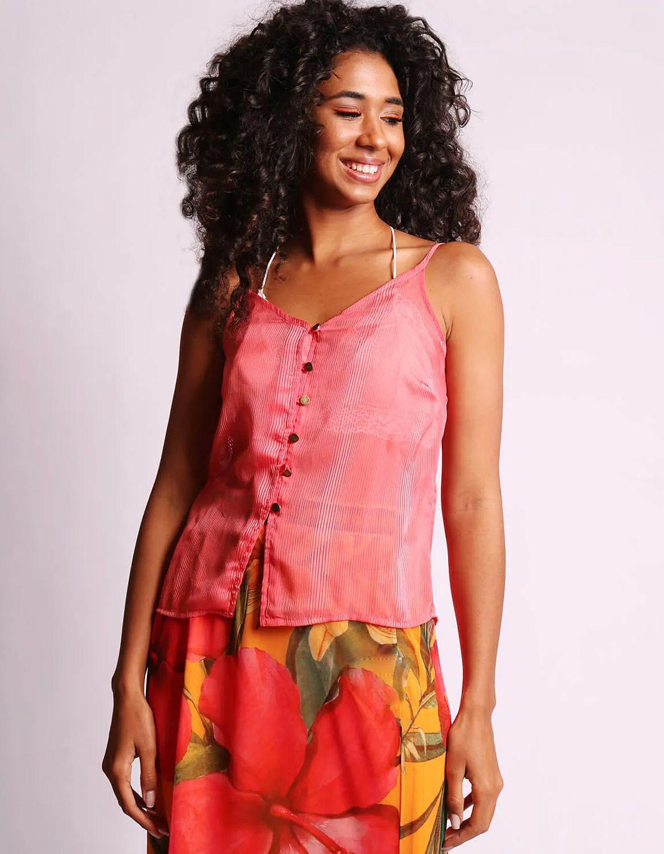 Blusa transparente plisada de verano azul o rosa sin mangas y con botones Malagueta-72377MAL-G