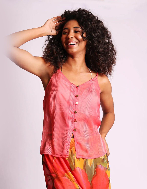 Blusa transparente plisada de verano azul o rosa sin mangas y con botones Malagueta-72377MAL-H