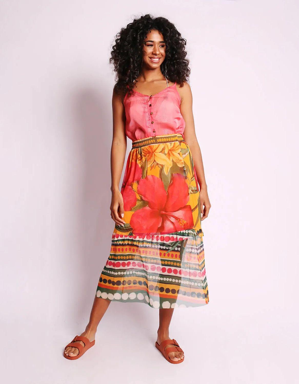 Blusa transparente plisada de verano azul o rosa sin mangas y con botones Malagueta-72377MAL-I