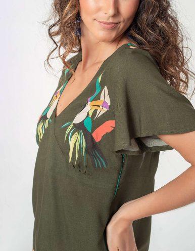 Blusa verano amarilla o verde manga corta y cordón ajustable en espalda Malagueta-72766MAL-A