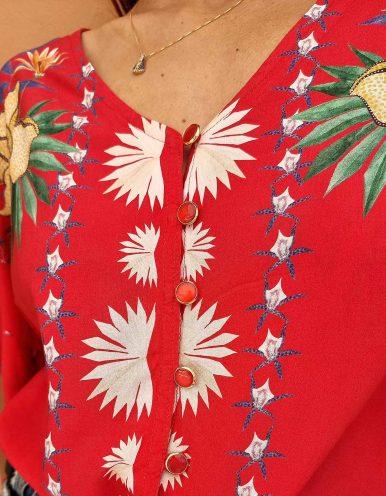 Blusa verano azul o roja manga corta y botones con anudado en cintura Malagueta-B
